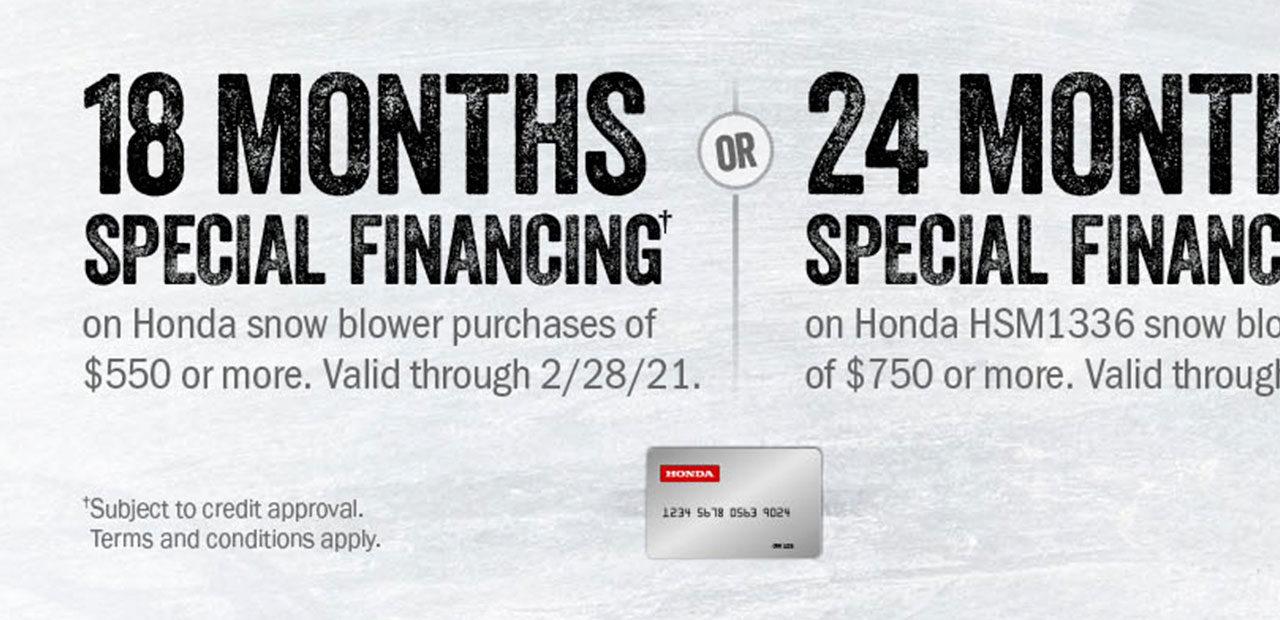 Honda Snow Blower Special Financing Offer!